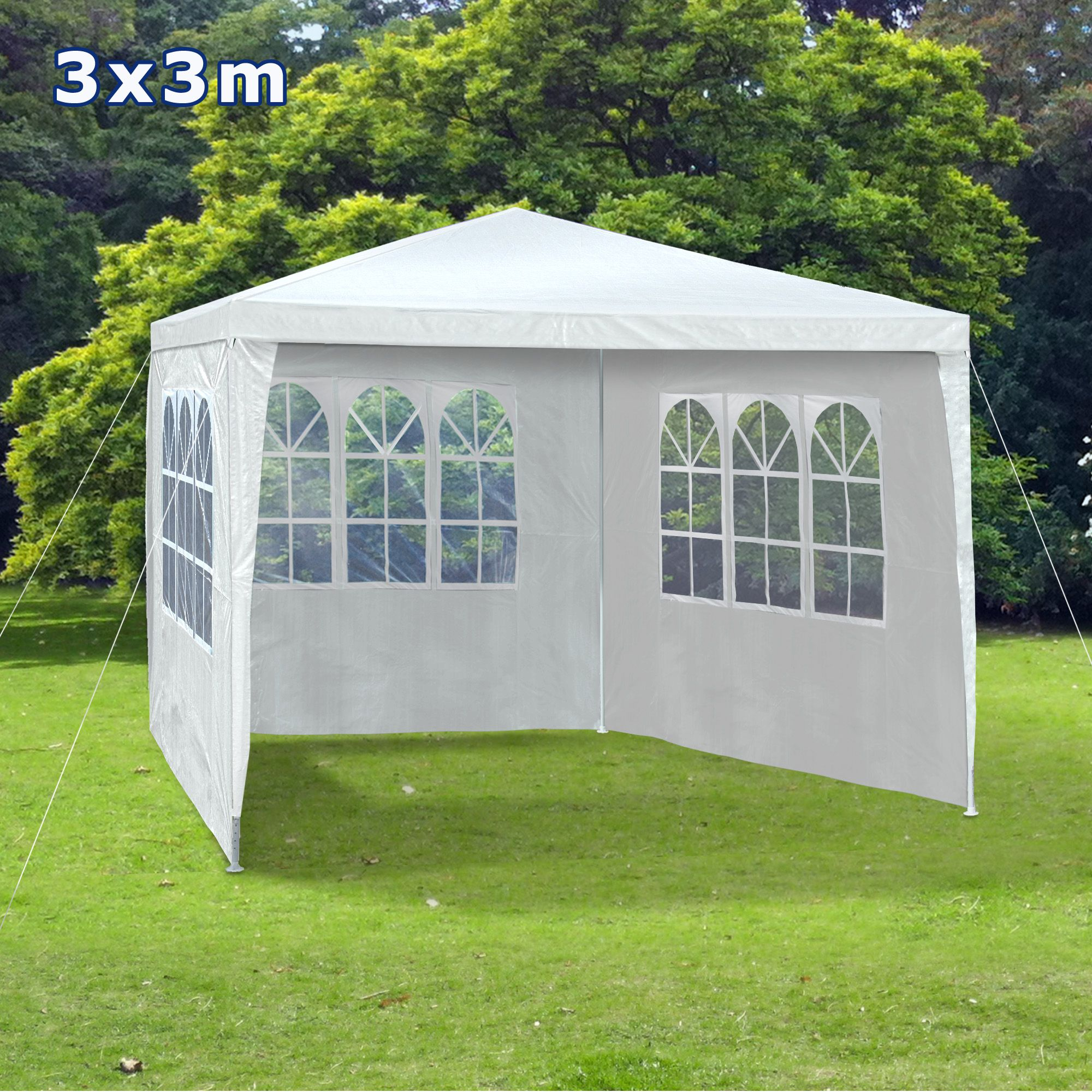 pavilion gradina cort racing structura harmonica alb cu ferestre later. Black Bedroom Furniture Sets. Home Design Ideas