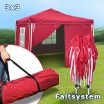 Pavilion gradina/cort racing 3x3m rosu material Oxford 200D cu geanta