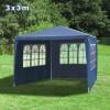 Pavilion gradina/cort racing structura harmonica albastru cu ferestre laterale